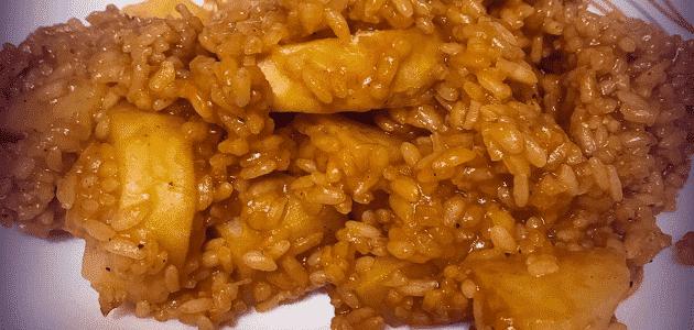 طريقة عمل مدفونة البطاطس بالأرز الأحمر